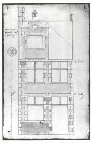 1709 - voorgevel - eerste kwart achttiende eeuw - bouwaanvraag SAG R 535/73-2 (1709). Beeld: Stadsarchief Gent, opname: 1995