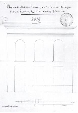 voorgevel 'reconstruction partielle de la façade' - bouwaanvraag SAG G12 2019 (1837). Beeld: Stadsarchief Gent, opname: 1995