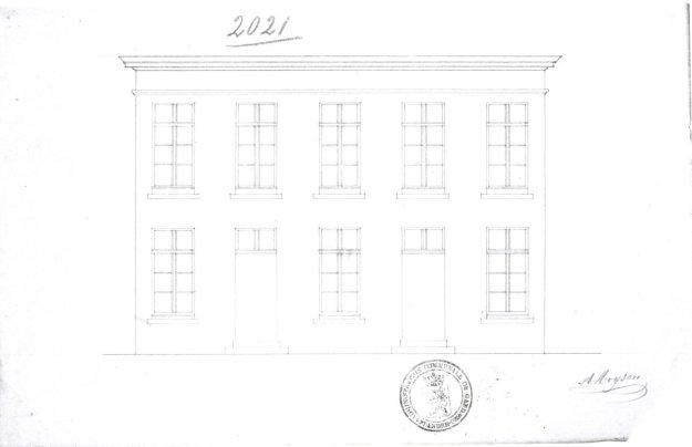 voorgevel 'reconstruction de 2 maisons' - tweede kwart negentiende eeuw - SAG G12 2021 (1842). Beeld: Stadsarchief Gent, opname: 1995
