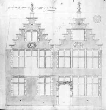 1702 - gevelplan - eerste kwart zeventiende eeuw (1702) - bouwaanvraag SAG R535 78 1. Beeld: Stadsarchief Gent