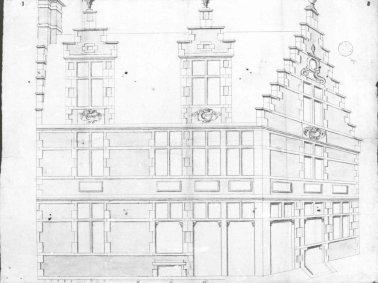 1836 - gevelplan - tweede kwart negentiende eeuw - bouwaanvraag SAG G12 5150 (1836). Beeld: Stadsarchief Gent