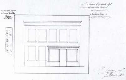 gevelplan - tweede kwart negentiende eeuw - bouwaanvraag SAG G12 12384 (1830). Beeld: Stadsarchief Gent