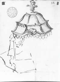 Schets van een muurkapel en primitieve straatverlichting door Pieter van Overwaele aangebracht aan de zijgevel in de Oudevest.