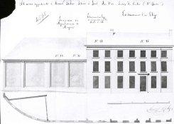 1821 - gevelplan - eerste kwart negentiende eeuw - bouwaanvraag SAG G12 4595 (1821) - hoek met Minnemeers - Oudevest. Beeld: Stadsarchief Gent, opname: 1995