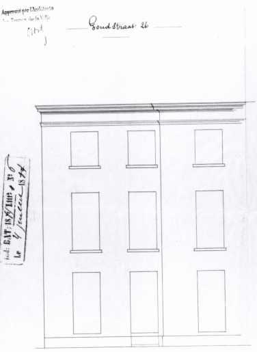 1884 - gevelplan - derde kwart negentiende eeuw - bouwaanvraag SAG G12 (1884). Beeld: Stadsarchief Gent
