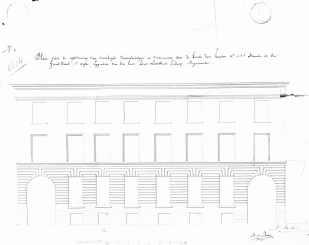 1843 - gevelplan nieuwe toestand - tweede kwart negentiende eeuw - bouwaanvraag SAG G12 4604 (1843). Beeld: Stadsarchief Gent