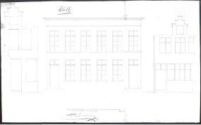 voorgevel - eerste kwart negentiende eeuw - SAG G12 nr. 4616 (1818) - reconstruction + bestaande toestand van twee vroegere huizen. Beeld: Stadsarchief Gent, opname: 1995