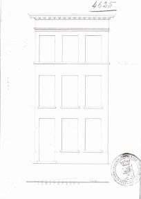 1837 - voorgevel - tweede kwart negentiende eeuw - SAG G12 nr. 4625 (1837) - reconstruction de la facade. Beeld: Stadsarchief Gent, opname: 1995