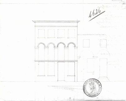 voorgevel - tweede kwart negentiende eeuw - SAG G12 4626 (1841) - porte cochère (met links huis uit 1826 (G12 4617) en rechts nog bestaande gevel nr. 20). Beeld: Stadsarchief Gent, opname: 1995