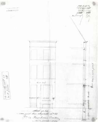 1897 - voorgevel - doorsnede - vierde kwart negentiende eeuw - SAG G12 1897-F1 (1897). Beeld: Stadsarchief Gent, opname: 1995