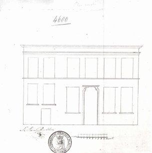 1837 - Voorgevel kant Goudstraat - tweede kwart negentiende eeuw - SAG G12 nr. 4600 (1837) - Changement à la façade. Beeld: Stadsarchief Gent, opname: 1995