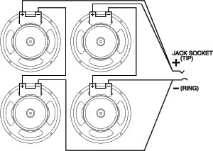 8 ohm wiring diagram what is an electron shell celestion bl12 200x ferrite example 4 x speaker load 16