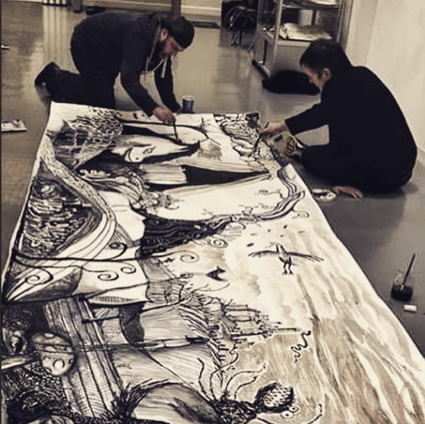 Fabric Lenny and Matthew Watkins drawing