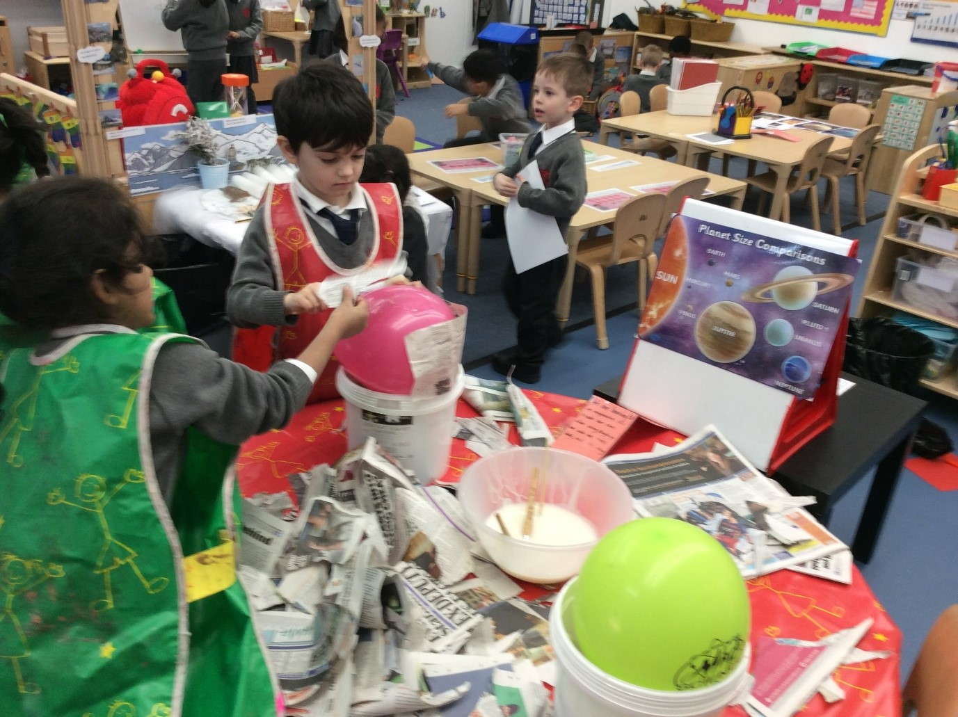 Making-planets-using-paper-mache