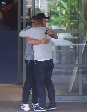 Heartbreaking: Australian cricketers Brad Haddin and Aaron Finch arrive at St Vincent