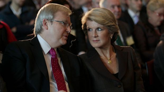 Kevin Rudd and Julie Bishop in 2011. Ms Bishop says the government will consider supporting Mr Rudd's bid to become UN Secretary-General if he nominates.