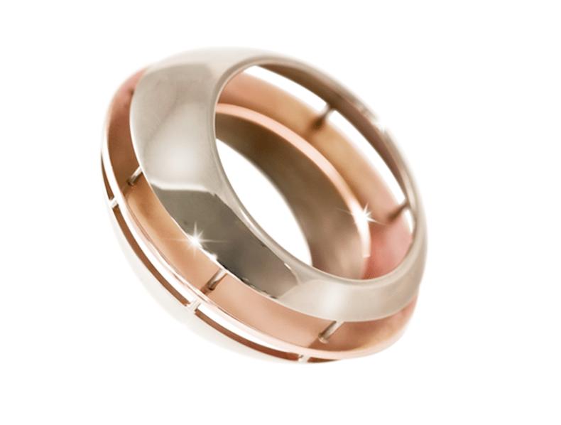 Ring in palladium, witgoud en roodgoud