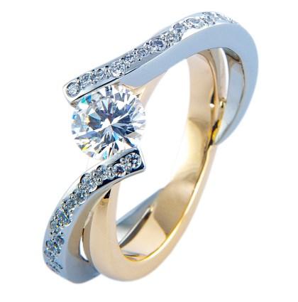 Schitterend! Bicolor gouden ring met diamant