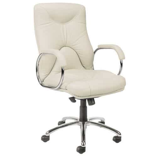 ivory leather office chair neutral posture parts elf executive wave ltd with loop arms