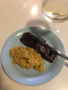 Blackstrap tamari salmon with dairy-free risotto