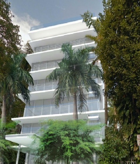 A six story luxury condominium with one apartment on each floor, rooftop pool, two parkign spaces per unit.