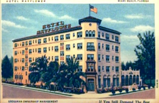 Original Mayflower Hotel and adorable attached building with arched windows on the right.