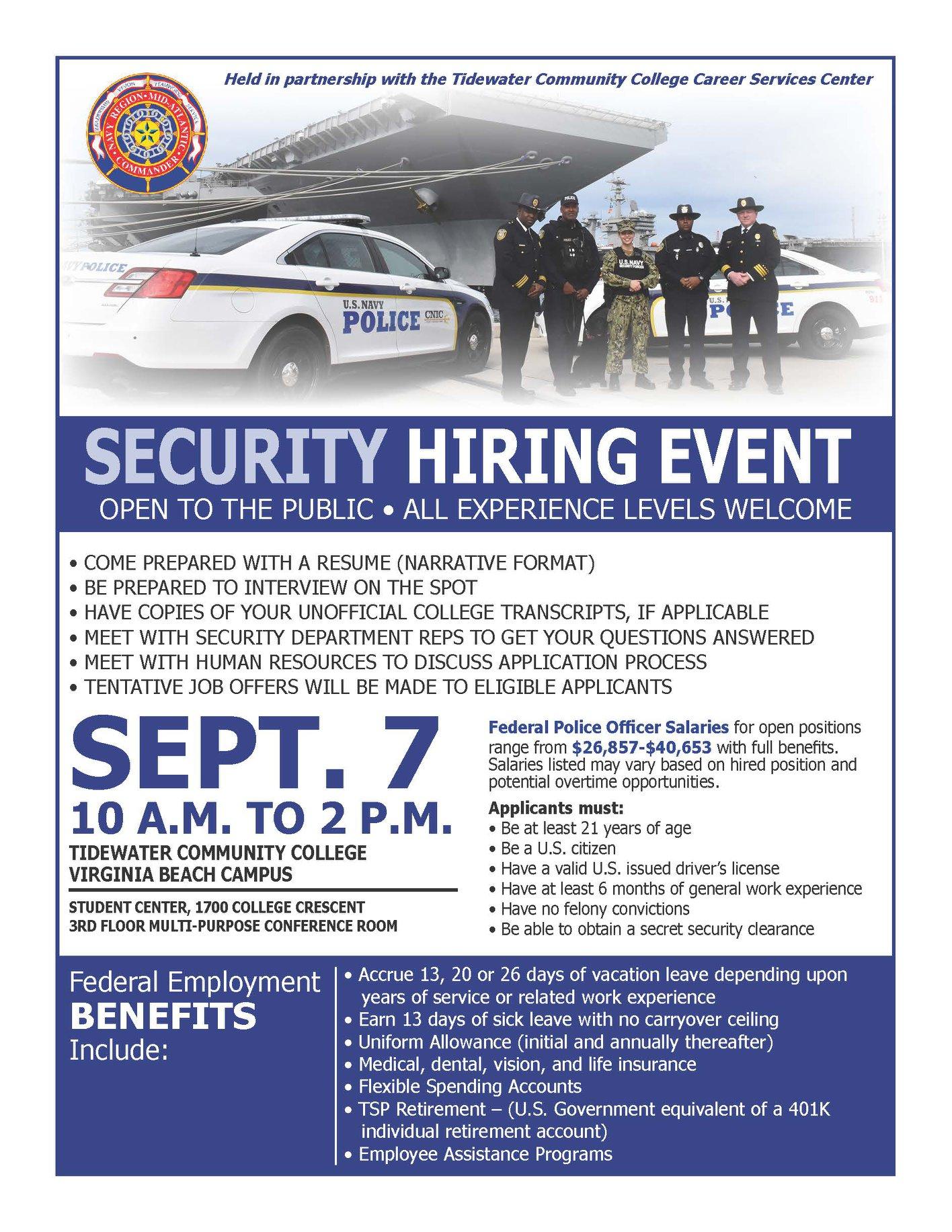 Navy Region Mid-Atlantic September Hiring Event
