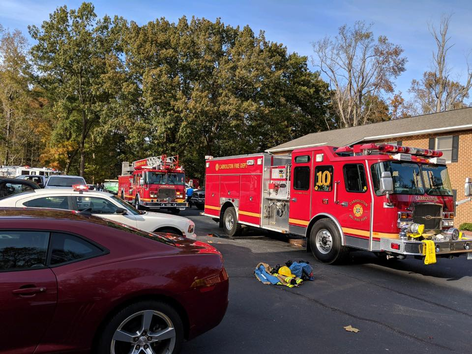 Two adults in Carrollton have been displaced after an apartment fire