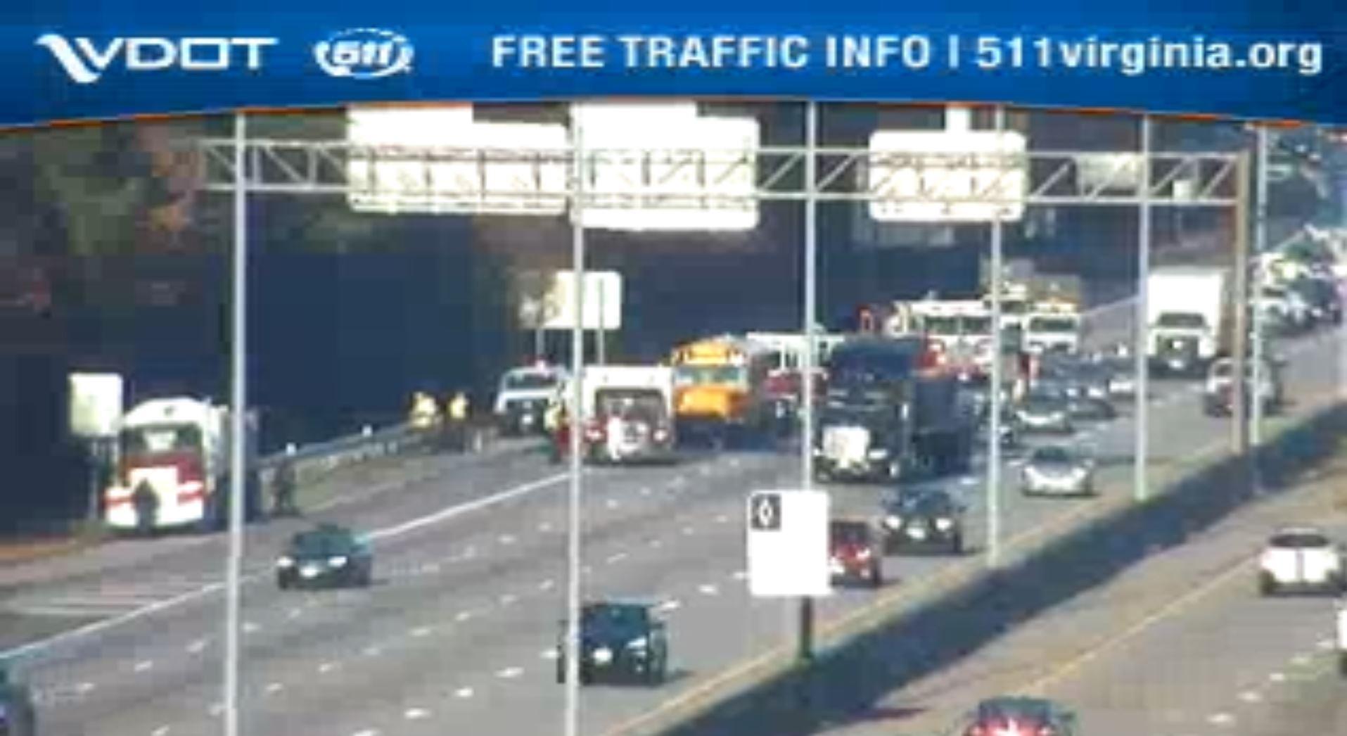 Official: Newport News school bus rear-ends dump truck on I-64
