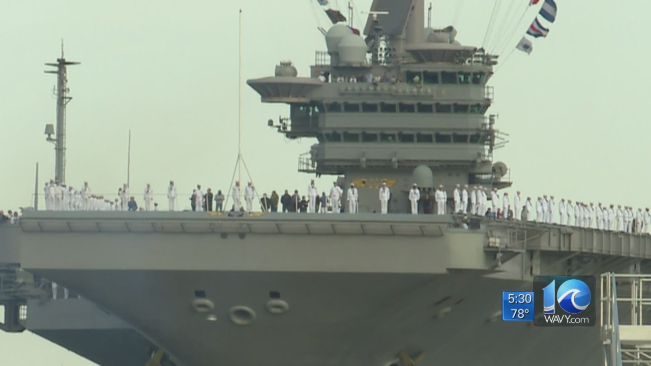 Sailors aboard USS John C. Stennis arrive in Norfolk