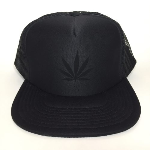 Weed Leaf Black on Black Trucker Hat