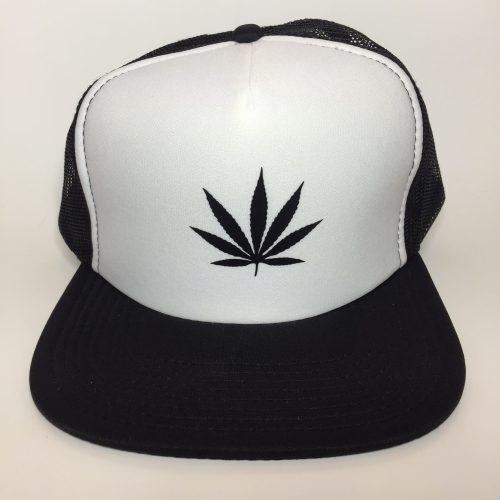 Weed Leaf Black on White Trucker Hat
