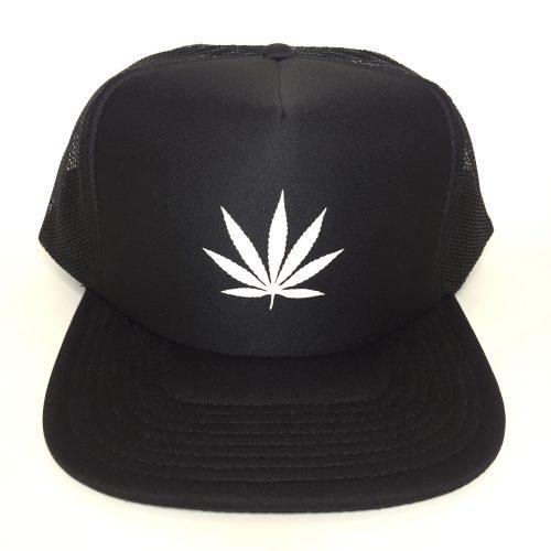 Weed Leaf White on Black Trucker Hat