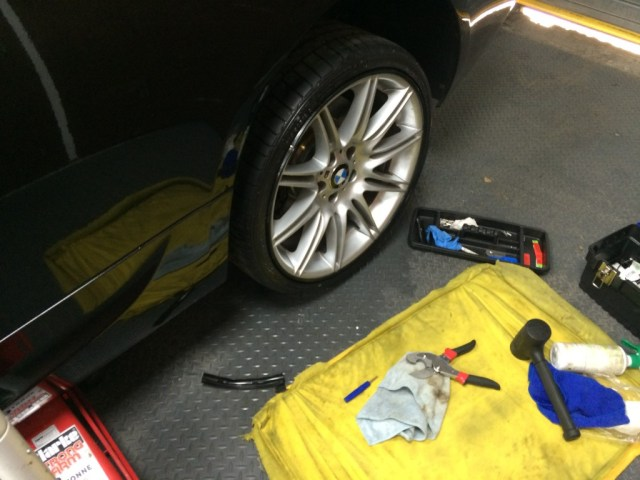 AlloyGator installed onto the rear tyre. Installed