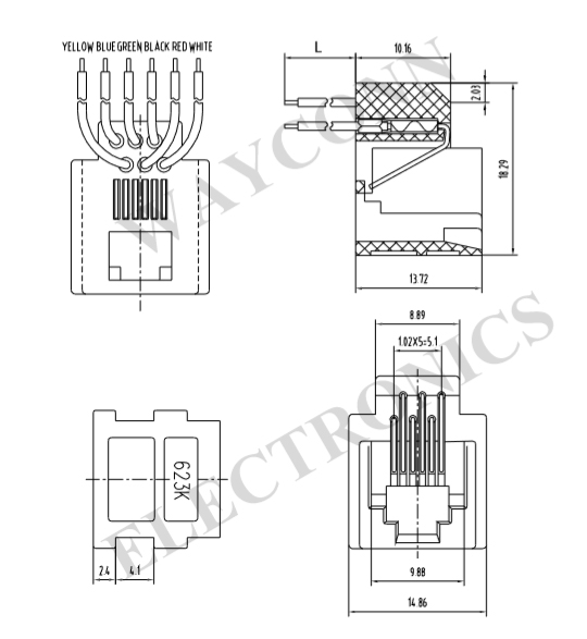 623K 6P6C 6P4C 6P2C RJ11 Telephone Wired Modular Jack