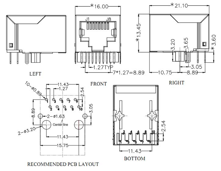 RJ45 Jack with Magnetics Gigabit Ethernet Connector