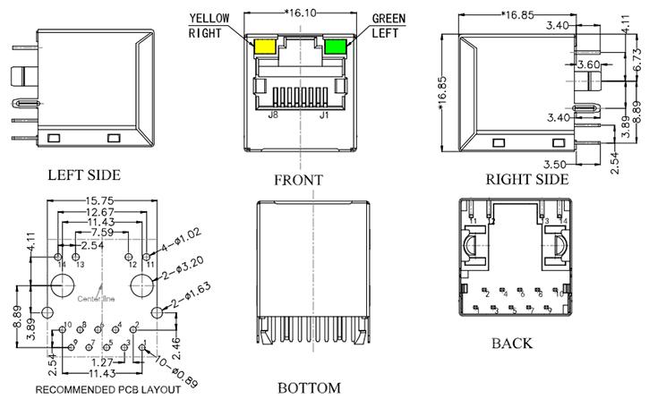 Vertical RJ45 Magnetic Jack Ethernet 1000Base-T Connector