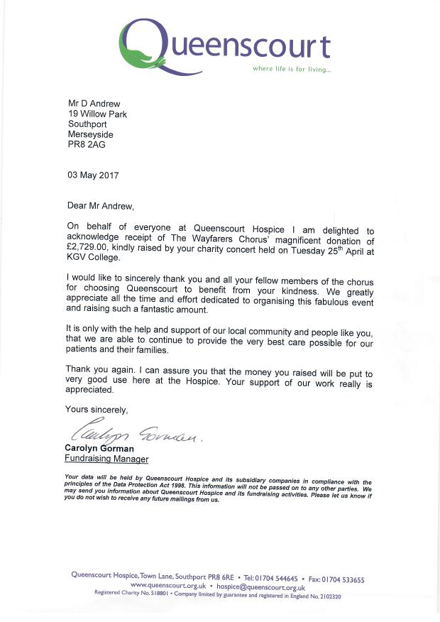 Thank you letter from Queenscourt Hospice to Wayfarers Chorus