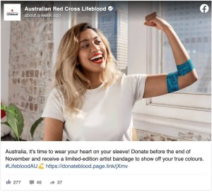 australian red cross lifeblood post encouraging people to donate before the end of November to receive a limited edition artist bandage