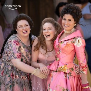 film still of the evil step sisters laughing