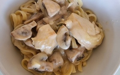 Chicken with spicy cream and mushrooms