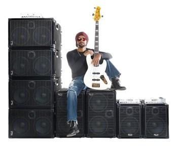 Bass player André Berry @ Wayne Jones AUDIO photo shoot, March 2016