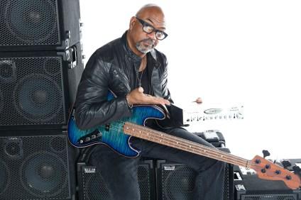 Carl Young, bass player & Wayne Jones AUDIO endorsee. Photo shoot at Center Staging, 3407 Winona Ave., Burbank, CA 91504.
