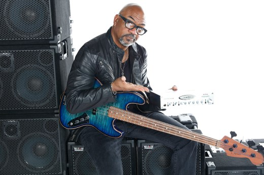 Carl Young, bass player & Wayne Jones AUDIO endorsee. Photo shoot at Center Staging, 3407 Winona Ave., Burbank, CA 91504.
