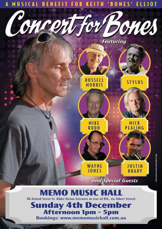 Concert For Bones on Sunday 4th December, Memo Musichall St Kilda, 1-5pm with an absolute Stellar cast!