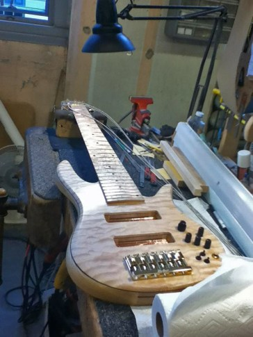My Custom Fodera Monarch 6 bass guitar - Ash body, Ash tone block. Quilted Maple top, Maple neck & Birdseye maple board, Pope 3 band EQ