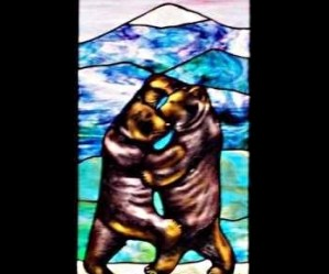 Painted Stained Glass Bears Window ©Cain Art Glass 2016, All Rights Reserved