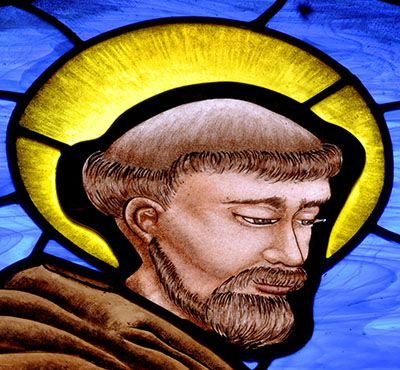 St. Francis Painted Stained Glass ©Cain Art Glass 2016, All Rights Reserved