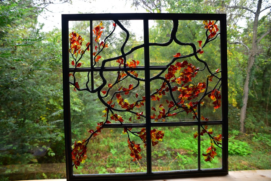 Contemporary Stained Glass Window with Flameworking ©Cain Art Glass 2016, All Rights Reserved