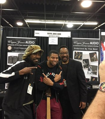 Bass player and Wayne Jones AUDIO endorsee, Nate Phillips with friends @ NAMM 2016